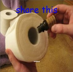 Fill your bathroom with an everlasting, fresh aroma! Simply place a few drops of essential oil onto the cardboard tube of your toilet paper roll–your bathroom will smell amazing until the roll is complete and you begin again!