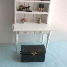 Puppenstuben & -häuser Schatztruhe Vintage Ledertasche Box Holz Miniatur Puppenhaus Zubehör—HQ