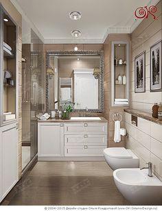 Дизайн ванной комнаты в бежевых оттенках  http://www.ok-interiordesign.ru/blog/dizayn-vannoy-komnaty-pravila-planirovki.html