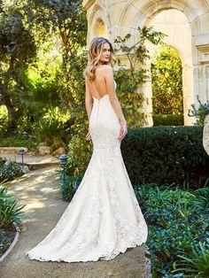 Moonlight Couture H1357 flattering rustic open back lace mermaid wedding dress with zipper closure #bride #wedding #weddingdress #lace