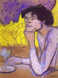 Pablo Picasso - L'Absinthe, 1901. Charcoal, pastel, gouache on paper. Collection of Otto Krebs, Holzdorf. Now in the Hermitage, St. Petersburg.