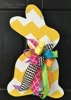 This cute little bunny holds a lot of potential!!! You can choose your pattern, personalization and color!!! This wooden door decor or home