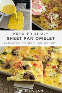 This keto omelet sheet pan meal will make your breakfast easy peasy to throw together! It's all prepared in one pan with easy cleanup! #keto #lowcarb #ketorecipes #ketobreakfast #sheetpan #sheetpanrecipes #onepan #onepot #easyketorecipes #breakfastideas #eggrecipes #omeletrecipes How To Make Breakfast, Low Carb Breakfast, Perfect Breakfast, Breakfast Dishes, Breakfast Recipes, Breakfast Ideas, Keto Friendly Vegetables, Low Carb Vegetables, Low Carb Recipes