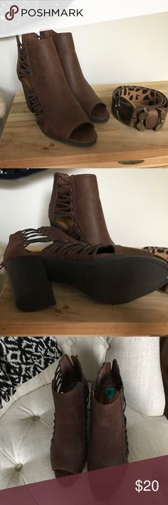 Rampage NWT Brown Leather  Vida open toe booties Nwt women's never worn brown booties. Block heel. Caged design. Rampage Shoes Heeled Boots