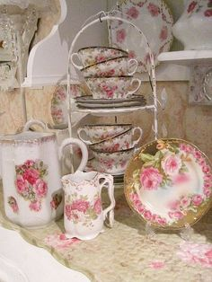 Rose covered china.