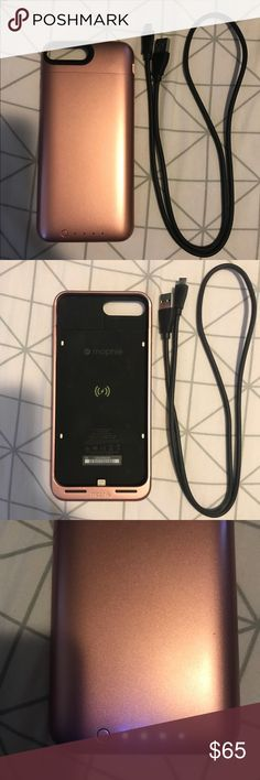 Mophie iPhone 7 Plus Charging Case - Rose Gold -Mophie juice pack air charging case for iPhone 7 Plus -working in great condition -no scratches or damages to case, only used it twice -comes with charger -offers up to 60% extra battery life -beautiful rose gold color Mophie Accessories Phone Cases