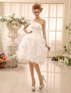 A-line Knee-Length Ivory Feather Bridal Wedding Gown with One-Shoulder - Milanoo.com