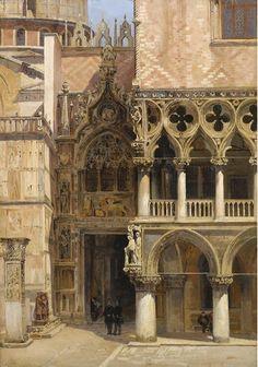 Antonietta Brandeis (Czech, 1849-1920).  Porta della Carta, Doge's Palace, Venice. Oil on board 34,5 x 24 cm. 1886.