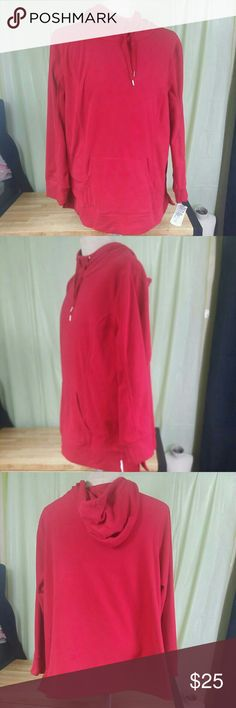 Style & Co. Sport Women's Hoodie Fleece Sweatshirt Style&co. Sport Women's  Hoodie Fleece Sweatshirt Top, Long-sleeve, 2X Plus Size color red, double front pocket, string top closure, compare $59.50 store retail price value, comes new with tag as closeout item in good cosmetic condition. Style & Co.  Tops Sweatshirts & Hoodies
