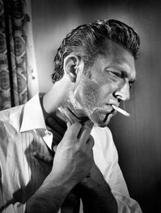 """""""You can't escape from what you are."""" - Vincent Cassel. Straight razor shave with a morning smoke."""