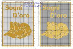 Schema filet uncinetto copertina neonato con Disney Baby Pluto che dorme e testo sogni d'oro