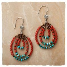 turquoise, red, copper taos bead earring