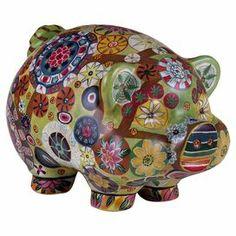 """Porcelain piggy bank with a multicolor floral motif     Product: Piggy bankConstruction Material: PorcelainColor: MultiDimensions: 6.75"""" H x 11"""" W x 7"""" D"""