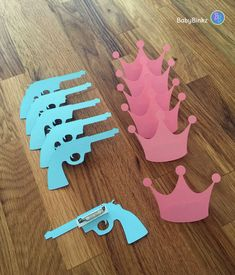 Party Pins: Guns or Glitter Gender Reveal Baby Shower - Die Cut Pink Girl Crown & Blue Boy Pistol Rifle vote game by BabyBinkz on Etsy https://www.etsy.com/listing/227940511/party-pins-guns-or-glitter-gender-reveal