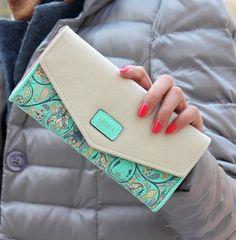 Wristlet Fashion Envelope Women Wallet Hit Color 3Fold Flowers Printing 5Colors