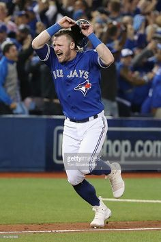 Josh Donaldson of the Toronto Blue Jays celebrates defeating the Baltimore Orioles to win the American League Wild Card game at Rogers Centre on October 2016 in Toronto, Canada. Get premium, high resolution news photos at Getty Images Blue Jay Way, Go Blue, Hockey, Baseball Players, Josh Donaldson, Mlb Teams, American League, Toronto Blue Jays, Baltimore Orioles