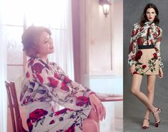 Sooyoung in Dolce and Gabbana floral-printed silk chiffon blouse, $1,245, and printed pencil skirt, $559