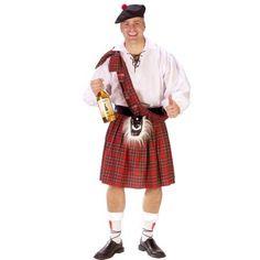 Funny Mens Scottish Kilt Outfit Adult Halloween Costume Adult Standard (5 foot 11 200 lbs)