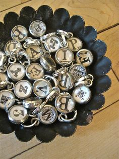 bubble dot initial charms from patina white
