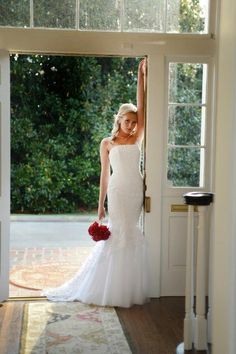 Bridal photo. Different in doorway. Door closed?