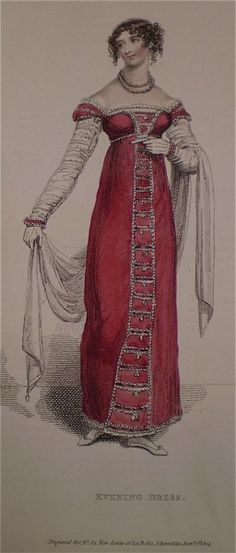 1814 Evening Dress in red.