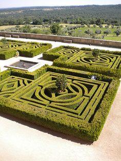 Monastery El Escorial Spain Gardens Old Style Cut Into A Maze Pattern for Walking, El Escorial, Spain