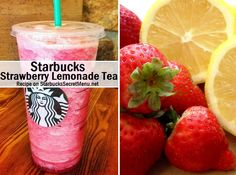 Here's the recipe: Strawberry lemonade with equal parts black iced tea and lemonade Half the regular amount of strawberry Blend and enjoy!