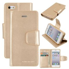 Genuine Goospery Gold Leather Folio Flip Case Wallet Cover For iPhone 5/5s & SE