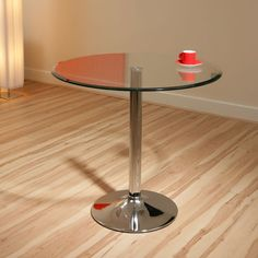 Round Glass Dining Table Clear Safety Glass, Chrome Base 80cm Dia A12 Preview