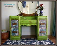 The Turquoise Iris ~ Vintage Modern Home: Apple Green Antique Waterfall Vanity with Peacock Feathers
