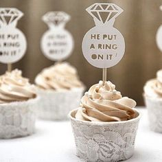 He Put A Ring On It cupcake toppers - bridal shower engagement party - lace cups - elegant - white & beige