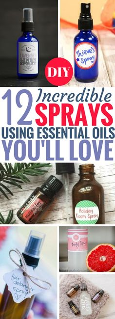 These DIY Essential Oil Sprays are simply THE BEST EVER. I'm serious, you guys! There's so many useful ways to use essential oils. I can't wait to try all of these recipes. The linen spray is brilliant!