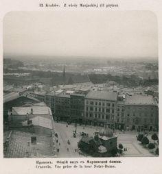 Kraków - ciekawostki, tajemnice, stare zdjęcia·   Widok z wieży kościoła Mariackiego na Kraków w 1906 roku.