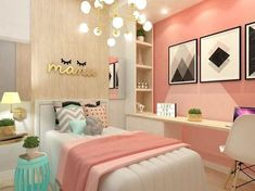 teen girl bedroom decor, gray white and pink bedroom decor, tween girl room design, girl room ideas desk area in kid room Teen Bedroom Colors, Small Room Bedroom, Bedroom Themes, Trendy Bedroom, Dream Bedroom, Diy Bedroom, Warm Bedroom, Room Color Ideas Bedroom, Decor Room