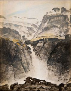 Peder Balke (Norwegian, 1804 - Waterfall, N/D Oil on canvas, 12 x 10 cm Mountain Pictures, Landscape Paintings, Norway, 19th Century, Oil On Canvas, Grand Canyon, Waterfall, Fine Art, Artist