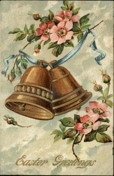EASTER Embossed Bells Ribbon and Flowers c1910 Postcard