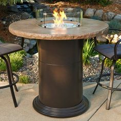Colonial Bar Height Fire Pit Table With Free Burner Cover And Optional  Glass Guard   FSH186