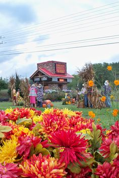 Fall display at Fireside Chalets in Pigeon Forge TN