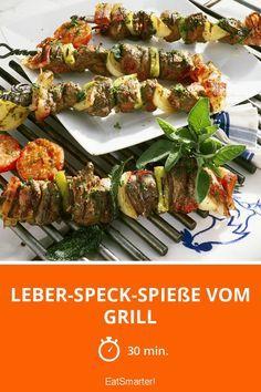 Leber-Speck-Spieße vom Grill - smarter - Zeit: 30 Min. | eatsmarter.de Eat Smarter, Grilling, Beef, Ethnic Recipes, Fondue, Party, Food, Meat, Healthy Recipes
