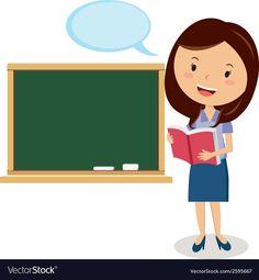 Cartoon teacher vector image on VectorStock Teacher Cartoon, Cartoon Boy, Preschool Curriculum, Preschool Kindergarten, Art Drawings For Kids, Drawing For Kids, Teacher Classroom Decorations, Classroom Images, Teacher Images