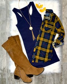Penny Plaid Flannel Top - Navy/Mustard - privityboutique Penny Plaid Flannel Top: Navy/Mustard top can be worn as long sleeves or a top. It is so very soft and comfy! Fall Fashion Trends, Teen Fashion, Fashion Outfits, Womens Fashion, Fashion Hair, Dress Fashion, Latest Fashion, Fasion, Runway Fashion