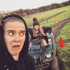 I was so proud that my sister @zoella drove a quad bike for the first time.... Until she decided to try and run me over that is  P.s. I am aware I look like a frightened walnut.