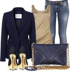 Navy blazer with jeans