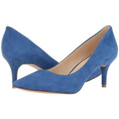 Nine West Margot (Dark Blue Suede) High Heels ($63) ❤ liked on Polyvore featuring shoes, pumps, slip-on shoes, suede pointed toe pumps, suede slip on shoes, high heel shoes and slip on shoes