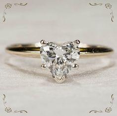 Ravishing 1.5ctw Solitaire Heart Diamond Ring 14k Gold Engagement Wedding Ring