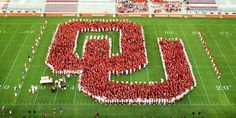 """Our new Sooners formed the """"OU"""" on Owen Field Oklahoma University Football, Ohio, Football Quotes, Football Boys, Football Field, College Football, Baseball, Hampshire, Wyoming"""