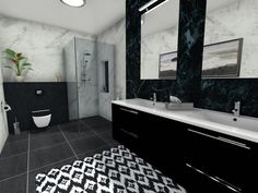 Black and white contrast to achieve a contemporary style bathroom! Contemporary Style Bathrooms, Bathroom Styling, White Bathroom, Double Vanity, Contrast, Black And White, Deco, Modern, Trendy Tree