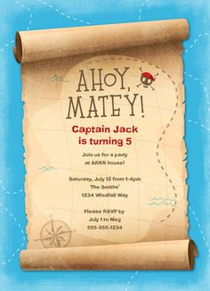 Pirate birthday party invitation wording ideas jaxsons 3rd pirate party invitation stopboris Images