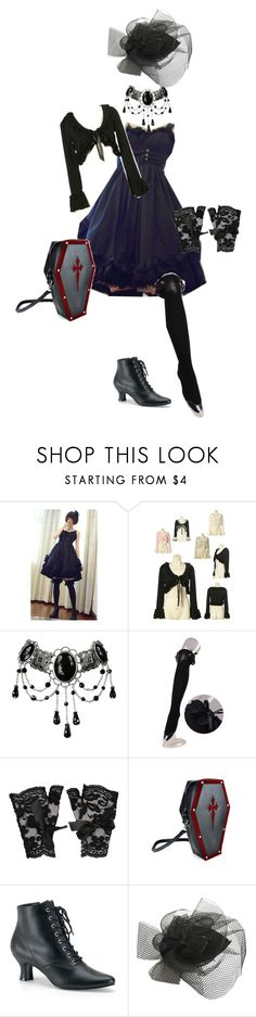 """""""Offbrand Vampiric Gothic Lolita Coord 5"""" by sakuuya ❤ liked on Polyvore featuring Bodyline, Forever 21, Funtasma and Wet Seal"""