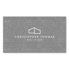 Modern Home Logo on Linen for Real Estate, Realtor Double-Sided Standard Business Cards (Pack Of 100). Make your own business card with this great design. All you need is to add your info to this template. Click the image to try it out!